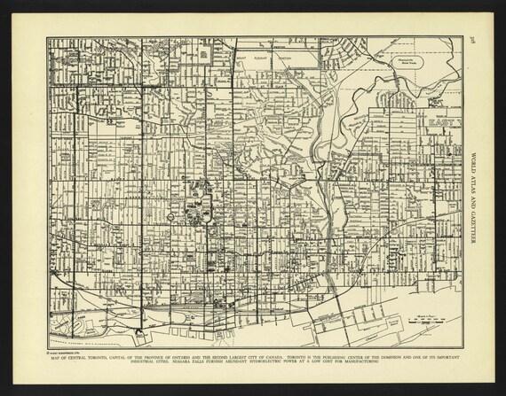 Vintage Street Map Toronto Ontario Canada From 1942 Original Etsy