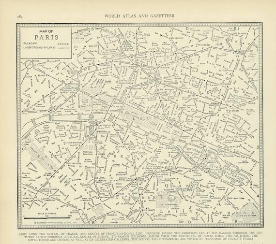 vintage street map paris france from 1937 original