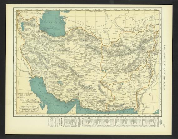 Vintage Map Persia Afghanistan Baluchistan Original 1921 Etsy