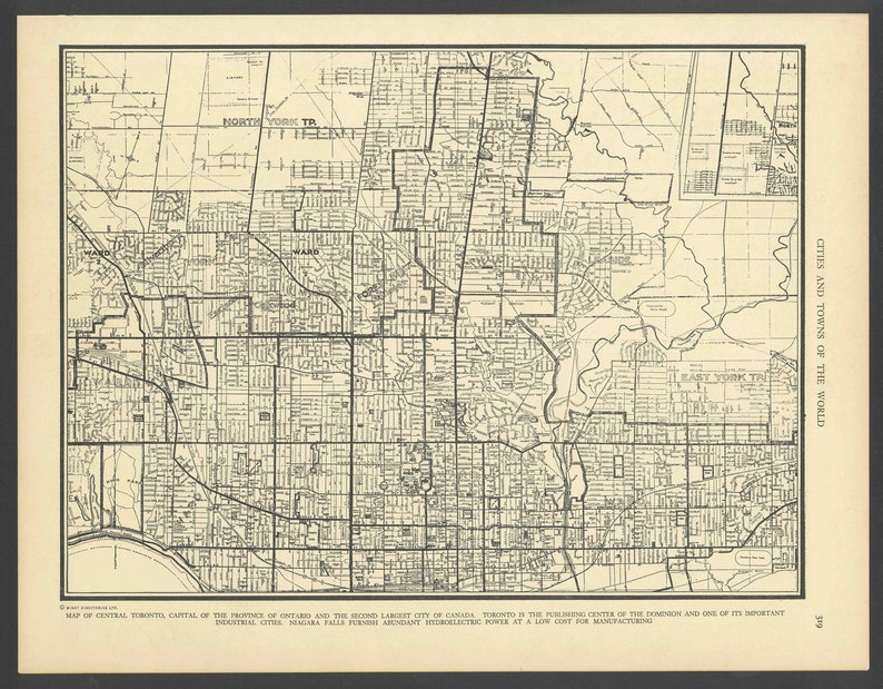 Map Of Canada Toronto Ontario.Vintage Street Map Toronto Ontario Canada From 1937 Original