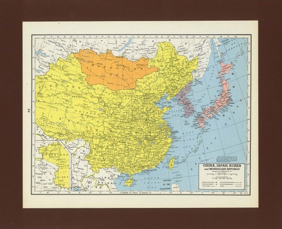 Vintage Map Of China Japan Korea Mongolia From 1949 Antique Etsy