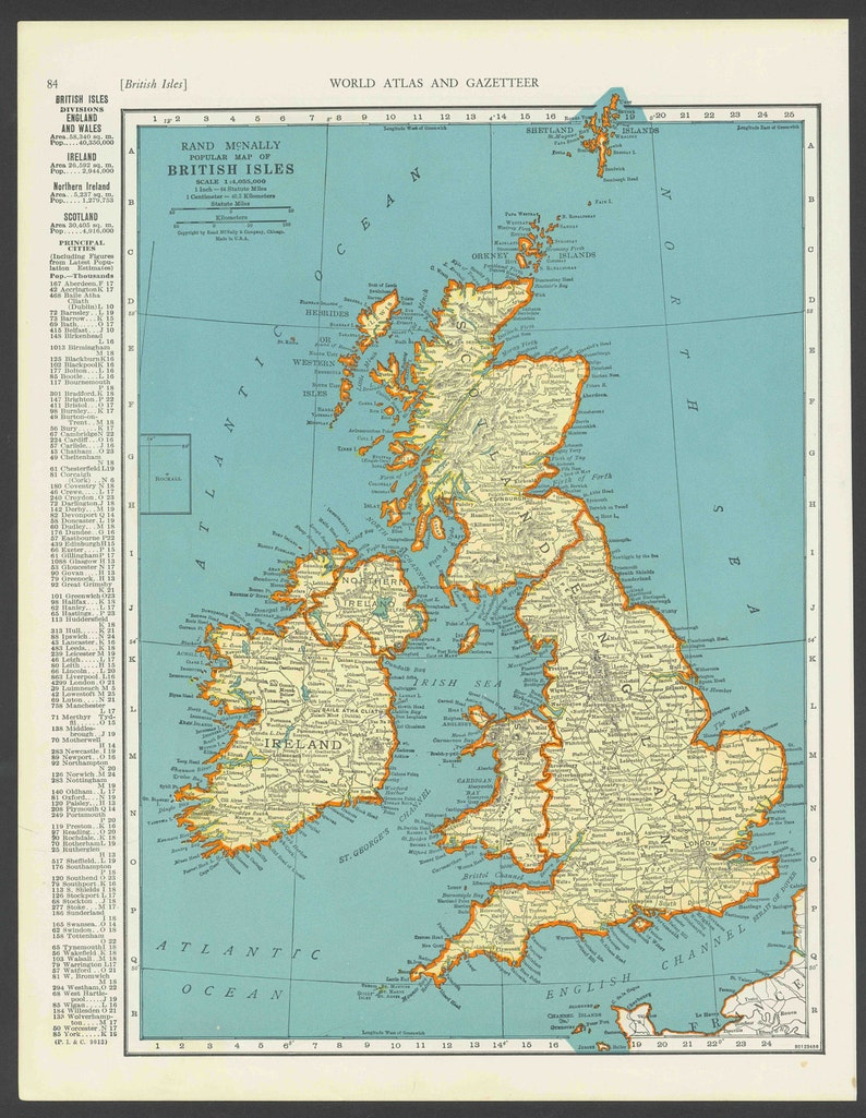 Map Of Scotland Wales And England.Vintage Map Of British Isles England Scotland Ireland Wales From 1937 Original