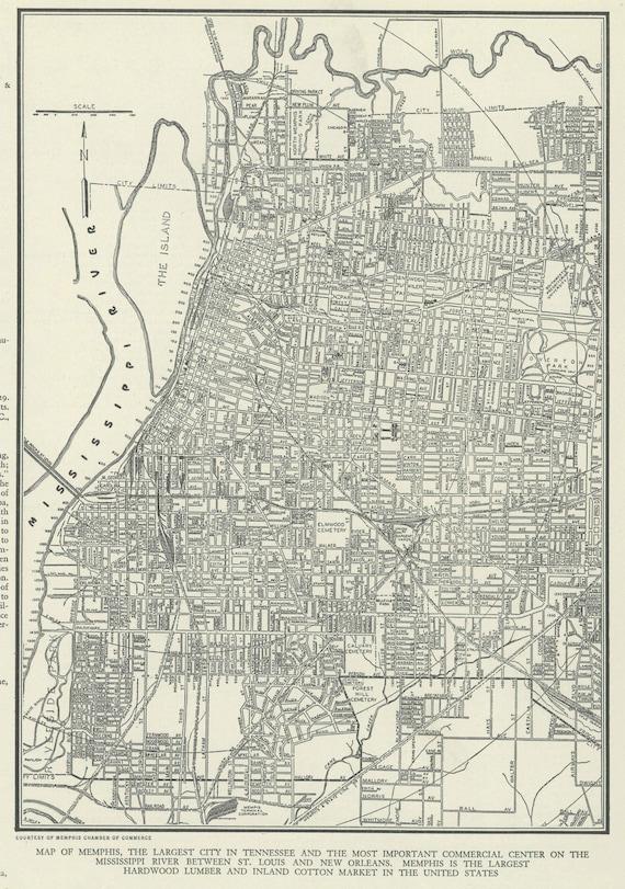 Vintage mapa de Tennessee de Memphis de 1937 Original