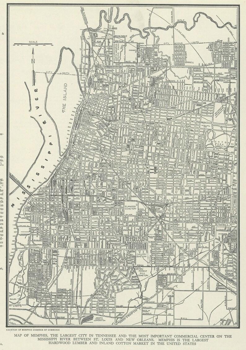 Vintage mapa de Tennessee de Memphis de 1937 Original | Etsy