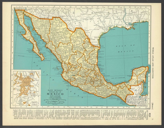 Vintage Map Mexico From 1937 Original Etsy