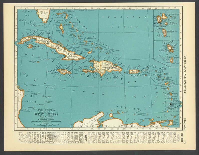 Vintage Map of the West Indies Cuba Puerto Rico Jamaica Jamaica From 1937  Original