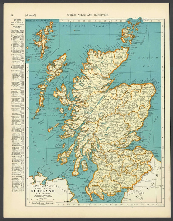 Vintage map scotland from 1937 original etsy image 0 gumiabroncs Image collections