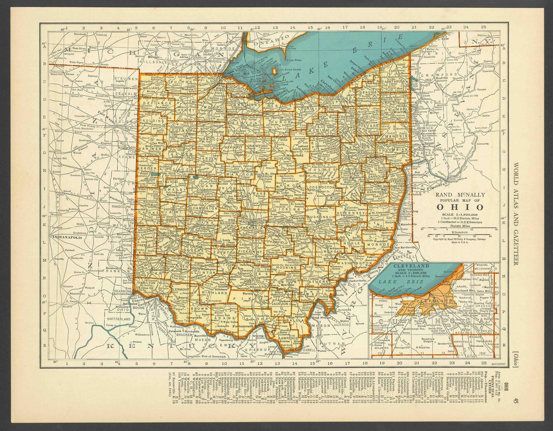 Vintage Map Ohio From 1937 Original | Etsy