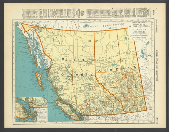 Vintage Map of British Columbia Alberta Canada From 1937 Original