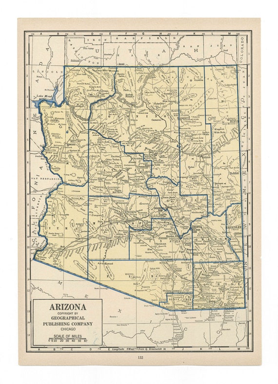 Geographical Map Of Arizona.Items Similar To Vintage Map Of Arizona From 1949 Antique 1940s On Etsy