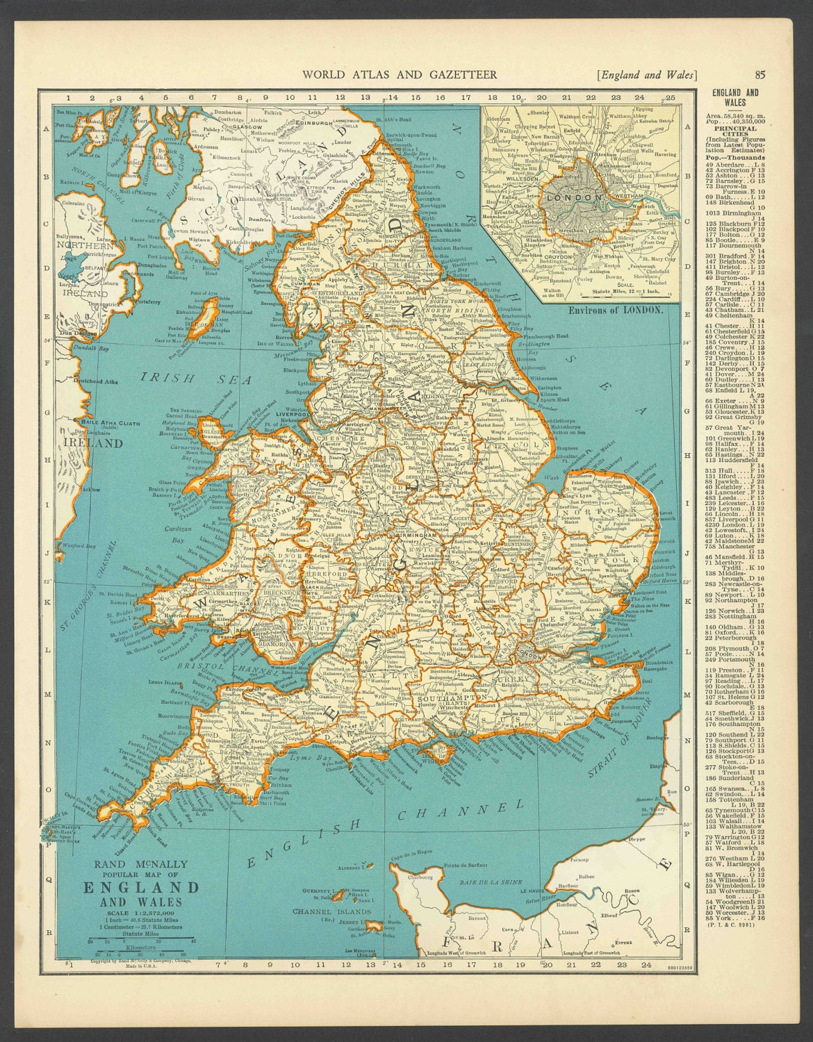 Full Map Of England.Vintage Map England From 1937 Original