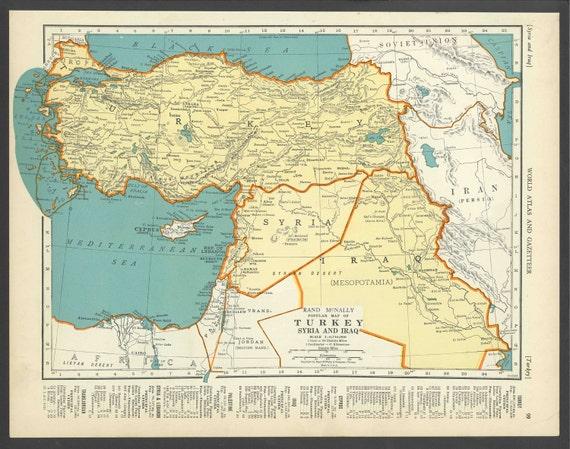 Vintage Map of Turkey Iraq Syria From 1937 Original