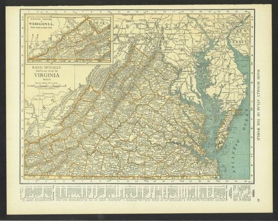 Vintage Map Virginia Original 1921