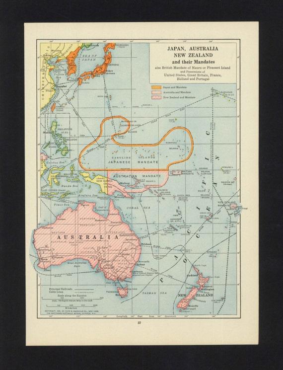 Map Of Australia Japan.Items Similar To Vintage Map Australia New Zealand Japan From 1921