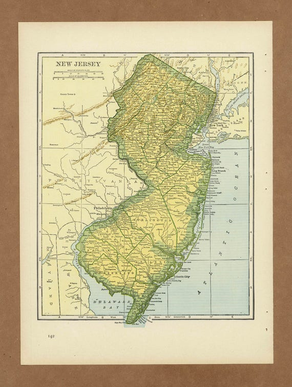 Vintage map of New Jersey from 1943 Antique 1940s on