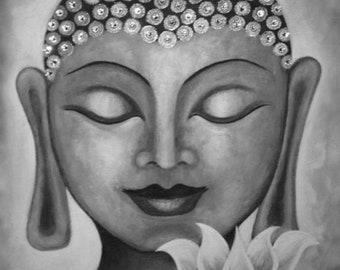 Buddha & Lotus 10 - Acrylic Painting