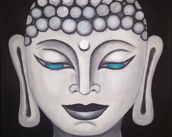 Buddha Blue Eyes - Acrylic Painting