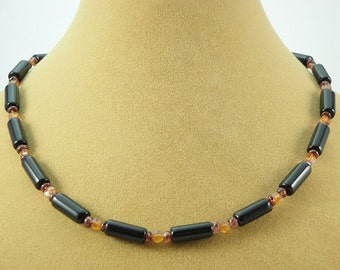 Natural Obsidian, Hessonite, and Garnet 16.5 inches Necklace Item #52