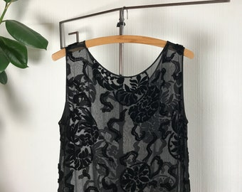 Rare 1920s flapper dress, black silk Devore