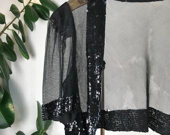 1930s Silk Tulle and Sequin bolero / jacket