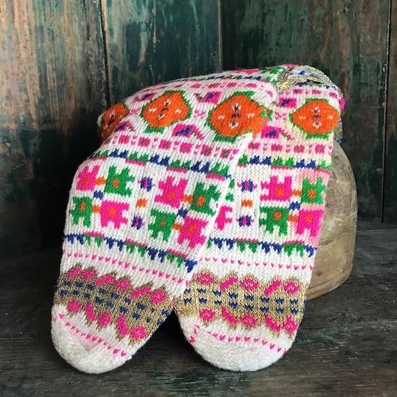 1940s Knitted Slipper Socks, Folk costume from Alb