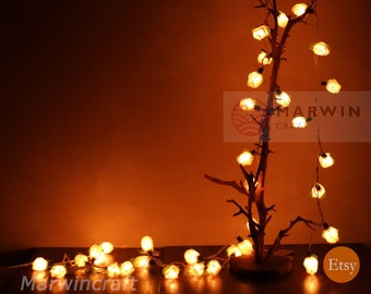 35 white string lights rose flower fairy lights bedroom home decor living room wall hanging lights rustic wedding decor wall dorm lights