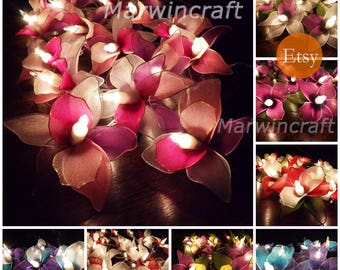 11 Colours of String Lights Orchid Flower Fairy Lights Bedroom Home Decor Living Room Wall Hanging Lights Wedding Decor Dorm Battery or Plug