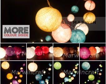 45 Tone String Lights Cotton Balls Fairy Lights Bedroom Home Decor Living Room Wall Hanging Lights Wedding Decor Dorm Lights Battery & Plug