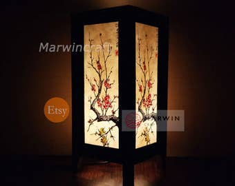 Asian lamp shade etsy asian oriental cherry blossom japanese lamp mozeypictures Choice Image