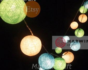 Soft Lemon String Lights Cotton Balls Fairy Lights Bedroom Home Decor Living Room Wall Hanging Lights Wedding Decor Dorm Battery or Plug in