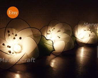 20 White String Lights Rain Lilly Flower Fairy Lights Bedroom Home Decor Living Room Wall Hanging Lights Wedding Decor Dorm Battery or Plug