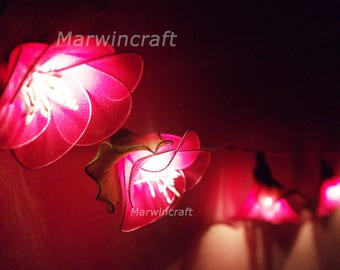 20 Pink String Lights Rain Lilly Flower Fairy Lights Bedroom Home Decor Living Room Wall Hanging Lights Wedding Decor Dorm Battery or Plug