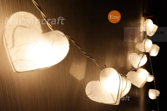 White Mulburry Paper String Lights Heart Fairy Lights Bedroom Home Decor  Living Room Wall Hanging Lights Decor Dorm Lights Backdrop Nursery