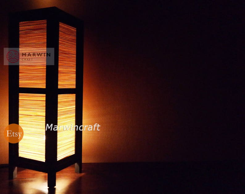 Elegant Asiatique Oriental Artisanat Bambou Japonais Lampe Zen Chevet | Etsy