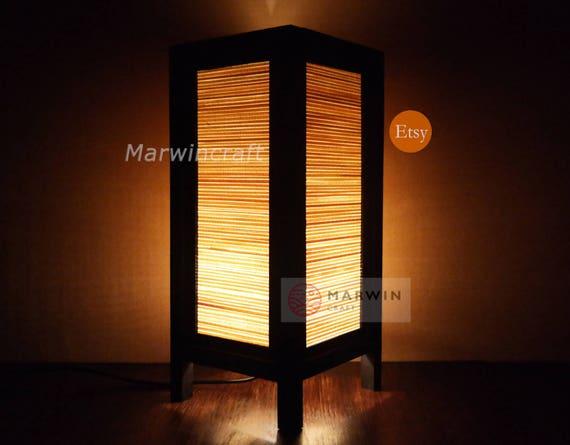 Asiatischen Oriental Bambus Japanischen Lampe Zen Nachttisch Etsy
