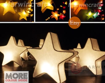 4 Colour Option Mulberry paper String Lights Star Fairy Lights Bedroom Home Decor Living Room Wall Hanging Lights Dorm Decor Battery & Plug