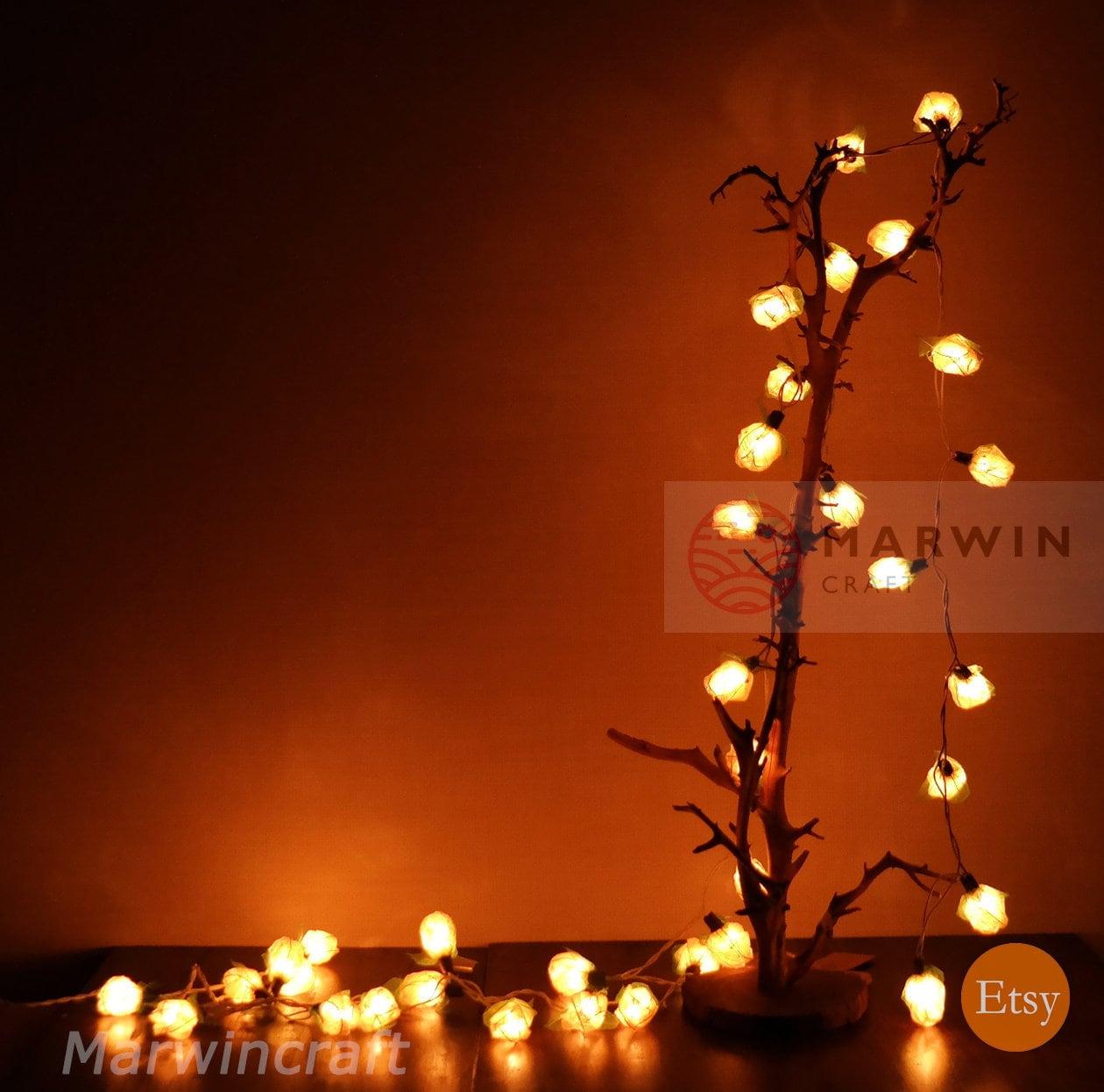 35 White String Lights Rose Flower Fairy Lights Bedroom ...
