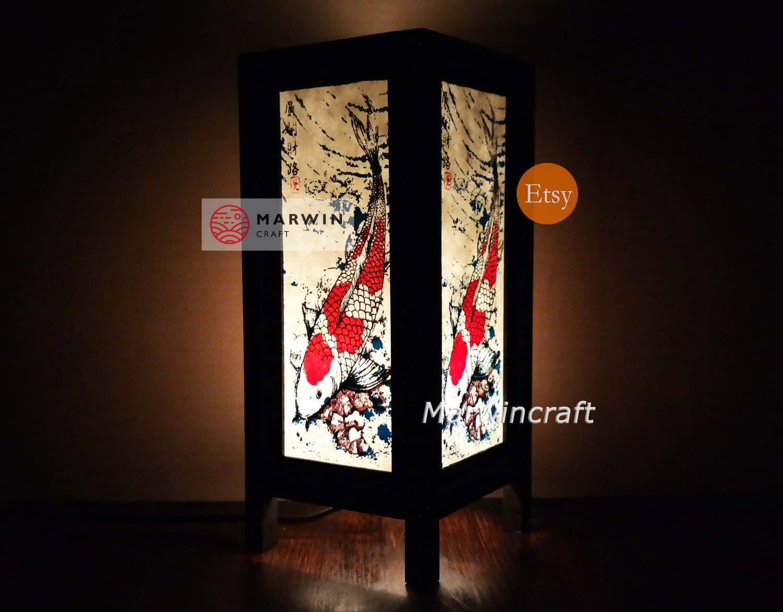 Asian oriental koi fish lucky japanese lamp zen bedside for Nachttischlampe orientalisch
