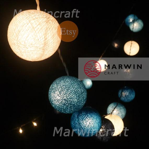 Soft Mint String Lights Cotton Balls Fairy Lights Bedroom Home Decor Living Room Wall Hanging Lights Wedding Decor Dorm Lights Battery Plug