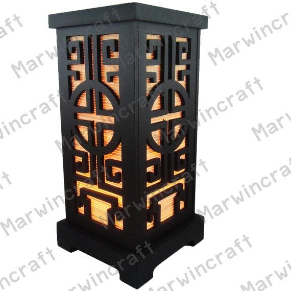 Aucune Vis Asiatique Oriental Bois Japonais Lampe Zen Chevet Lampe