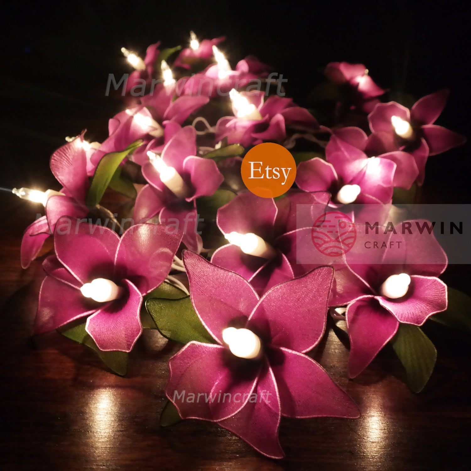 20 Purple String Lights Orchid Flower Fairy Lights Bedroom
