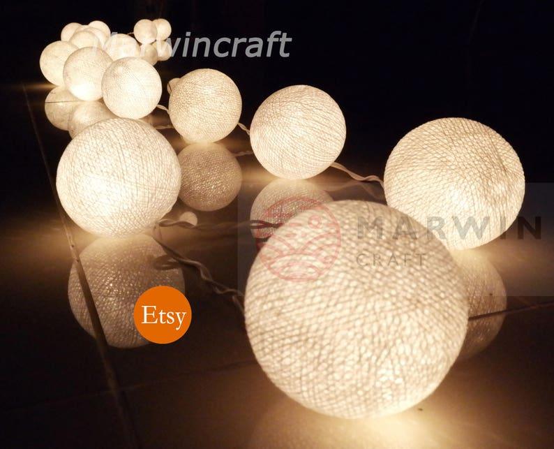 White String Lights Cotton Balls Fairy Lights Bedroom Home | Etsy