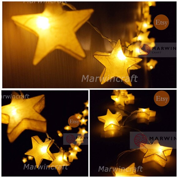 Yellow Mulburry Paper String Lights Star Fairy Lights Bedroom Home Decor  Living Room Wall Hanging Lights Decor Dorm Lights Battery or Plug