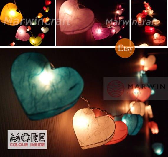 Selected Paper String Lights Heart Fairy Lights Bedroom Home Decor Living Room Wall Hanging Lights Wedding Decor Resturant Battery Or Plug