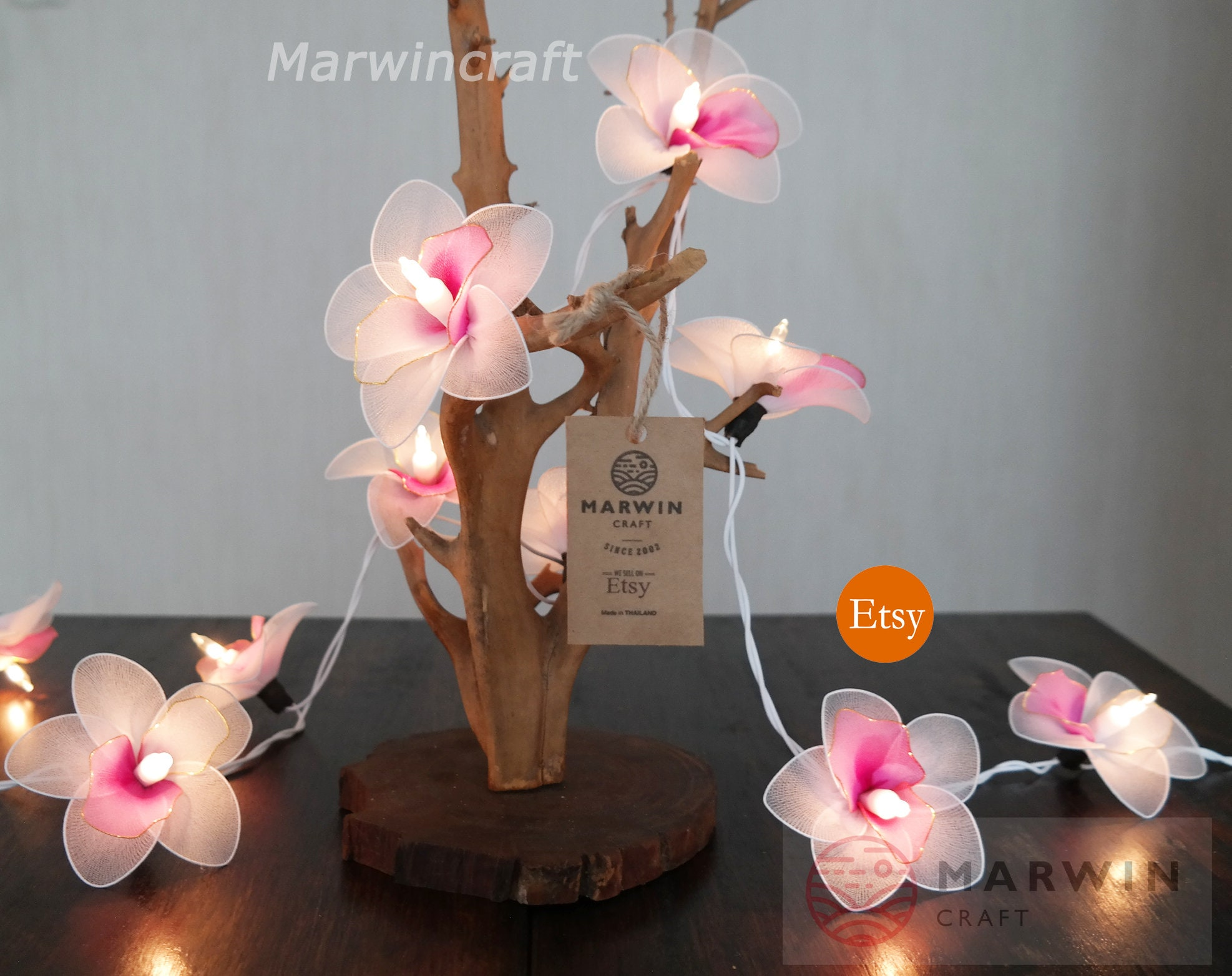 20 White Pink Orchid String Lights Flower Fairy Lights Bedroom Etsy