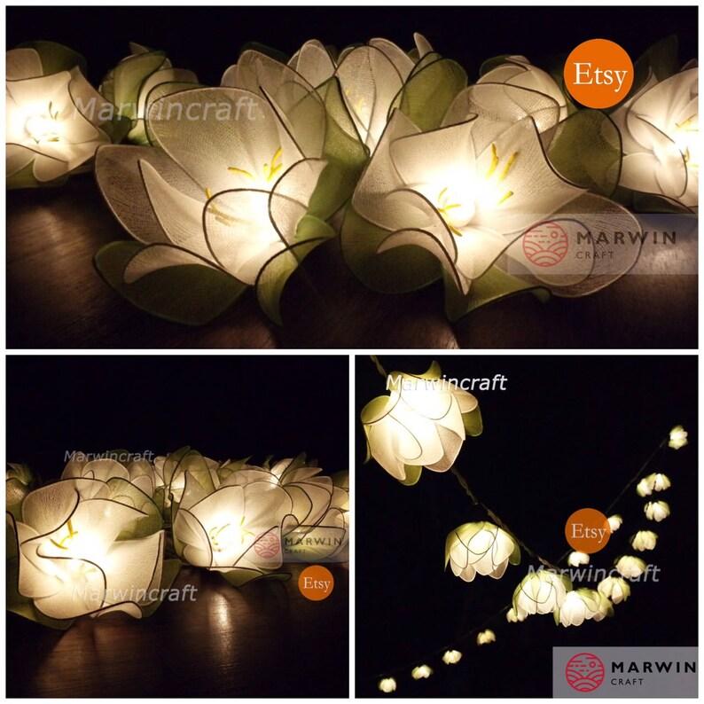20 White String Lights Lotus Flower Fairy Lights Bedroom Home image 0