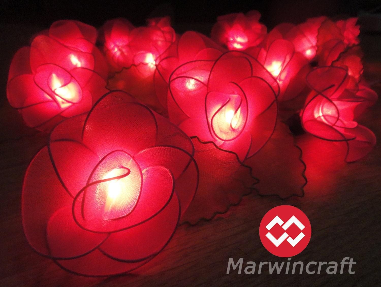 20 pink string lights rose flower fairy lights bedroom. Black Bedroom Furniture Sets. Home Design Ideas