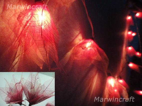 Red String Lights Bodhi Leave Flower Fairy Lights Bedroom