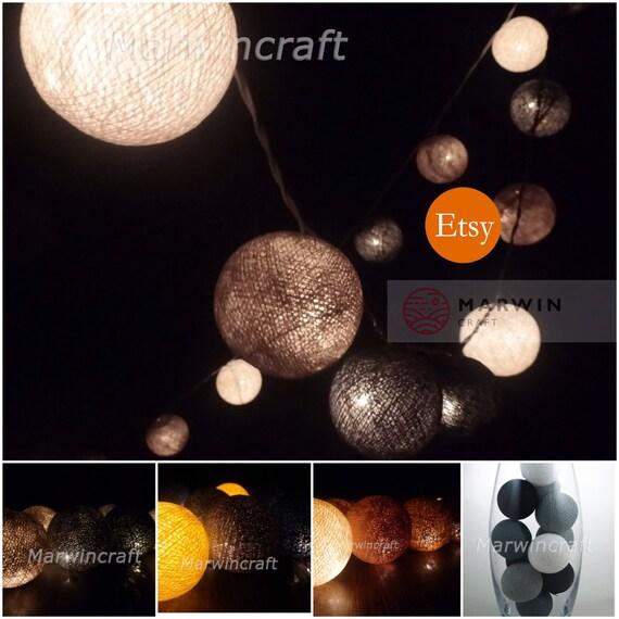 Grey Earth String Lights Cotton Balls Fairy Lights Bedroom Etsy