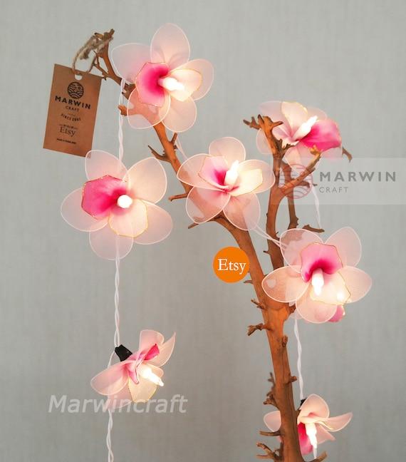 20 light pink orchid string lights flower fairy lights bedroom etsy image 0 mightylinksfo